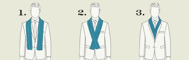 Přehoďte šálu přes ramena. 2. Šálu obtočte kolem krku. Předhoďte šálu kolem  krku a jednou či dvakrát ... 86f624bfc4